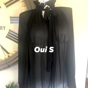 Oui S black high neck Victorian blouse